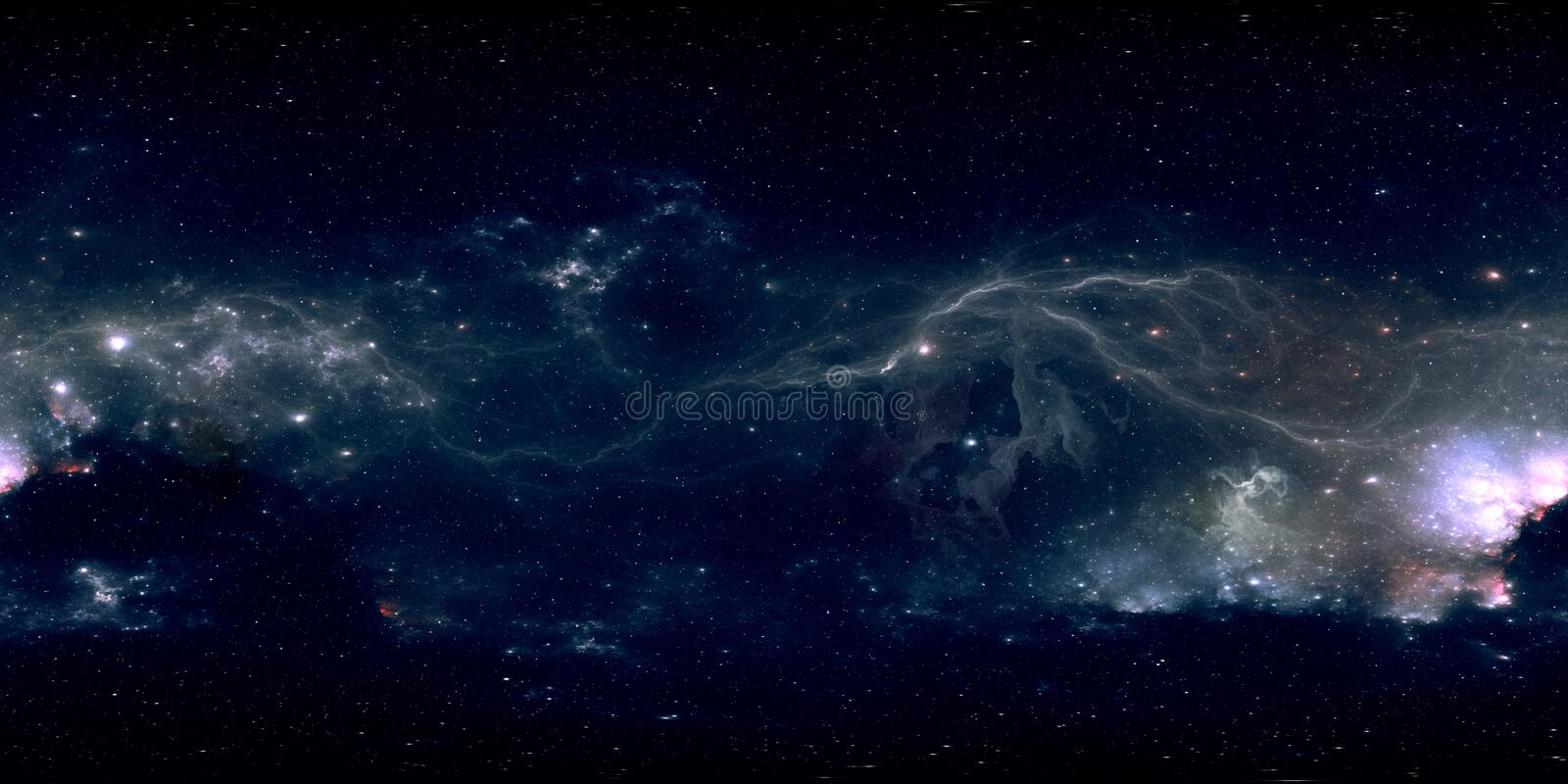 360 degree space background with glowing huge nebula with young stars, equirectangular projection, environment map. HDRI spherical stock photos