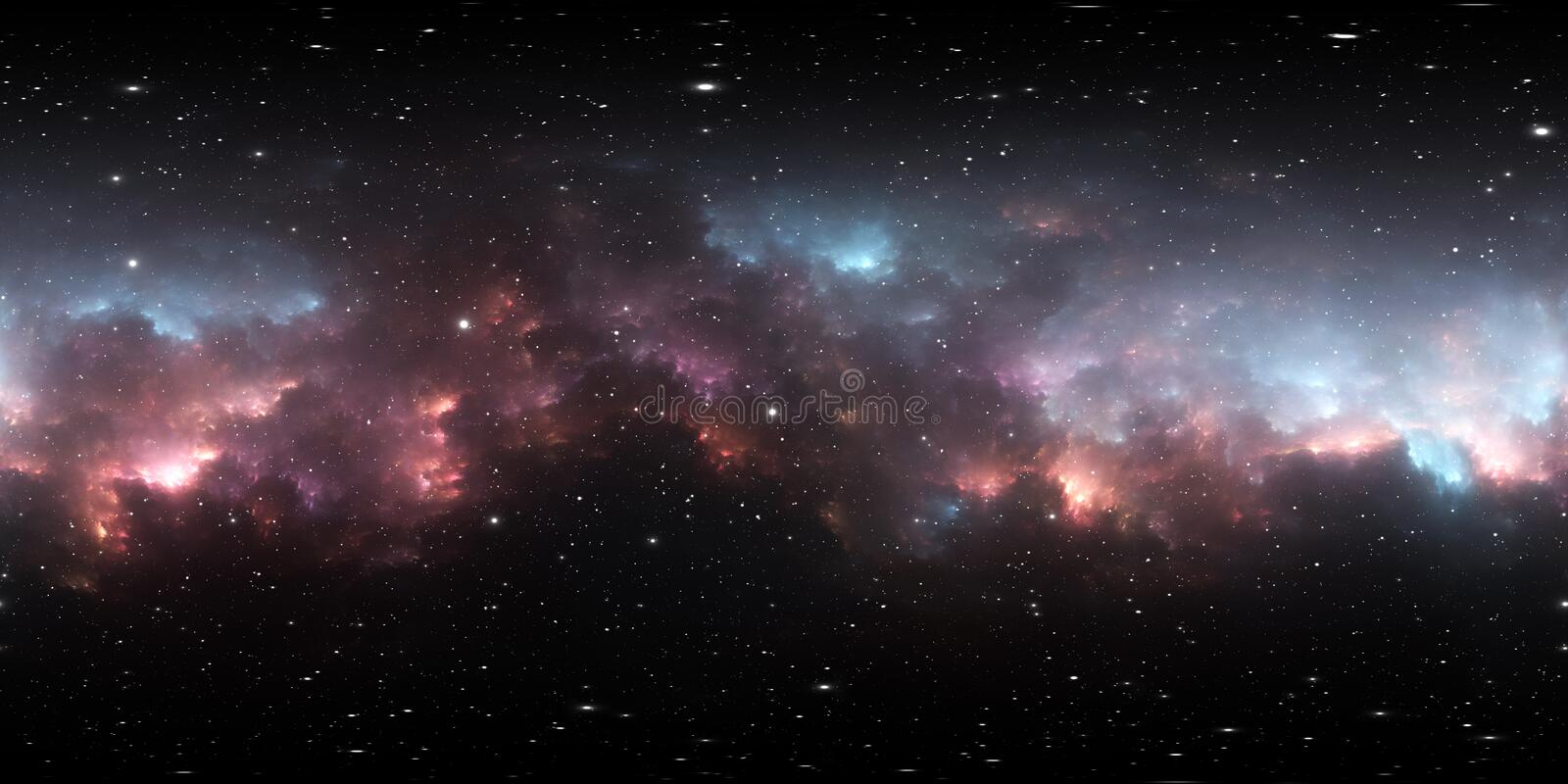 360 degree space background with nebula and stars, equirectangular projection, environment map. HDRI spherical panorama royalty free illustration