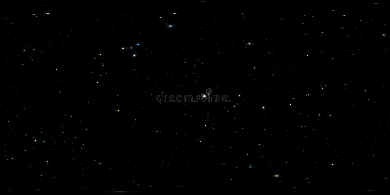 360 degree space background with stars panorama, equirectangular projection, environment map. HDRI spherical panorama. Night. Starry sky background. 3d royalty free illustration