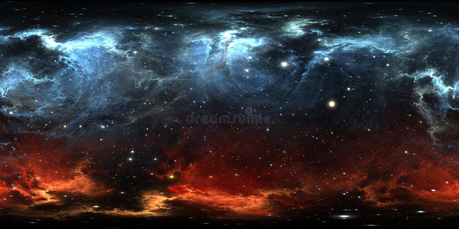 360 degree space nebula panorama, equirectangular projection, environment map. HDRI spherical panorama. Space background. With nebula and stars. 3d illustration royalty free illustration