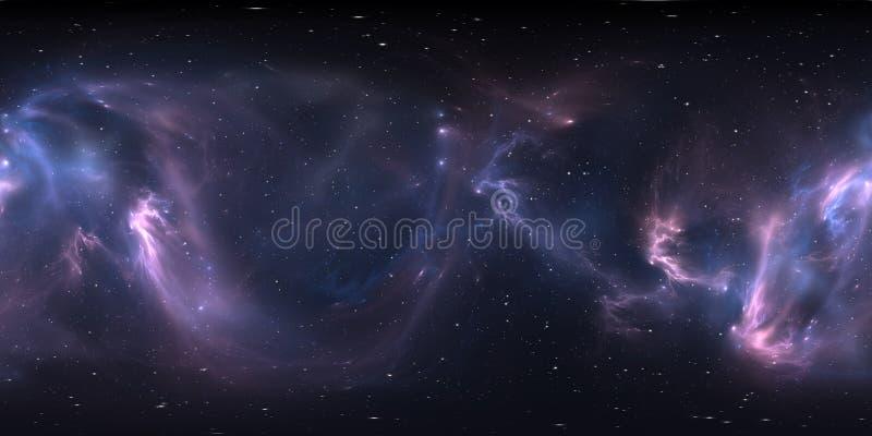 360 degree space nebula panorama, equirectangular projection, environment map. HDRI spherical panorama. royalty free illustration
