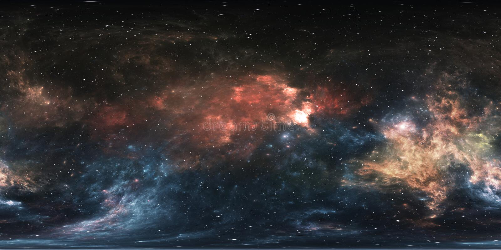 360 degree space nebula panorama, equirectangular projection, environment map. HDRI spherical panorama. Space background. With nebula and stars. 3d illustration vector illustration