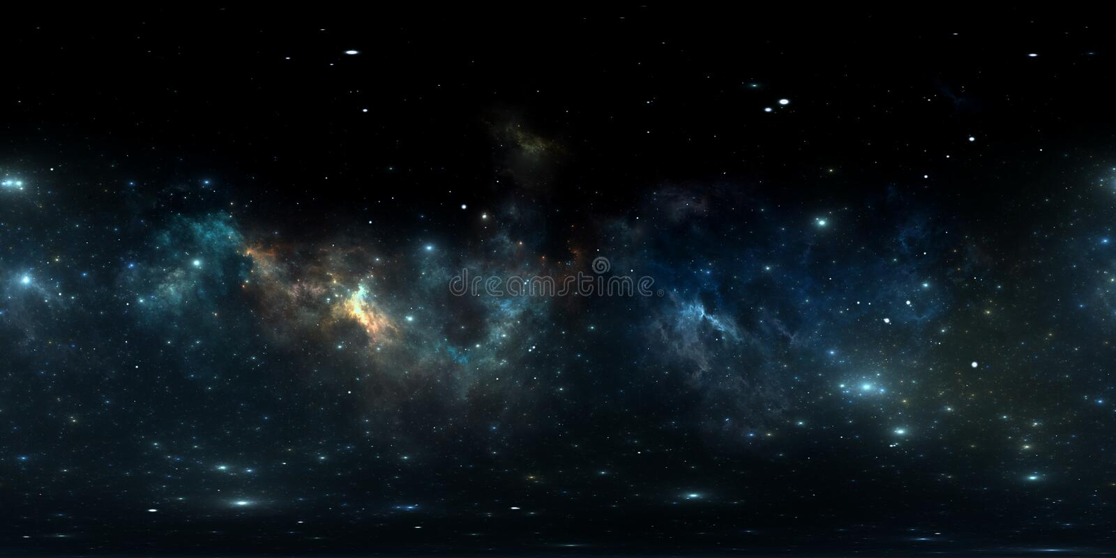 360 degree space nebula panorama, equirectangular projection, environment map. HDRI spherical panorama. Space background. With nebula and stars. 3d illustration stock illustration