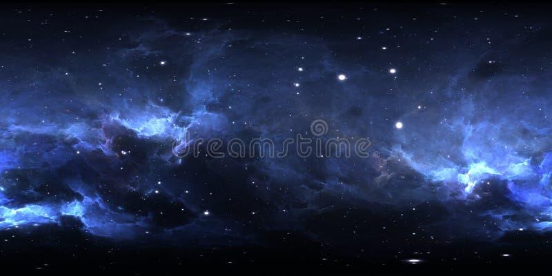 360 degree space nebula panorama, equirectangular projection, environment map. HDRI spherical panorama. Space background with nebu vector illustration