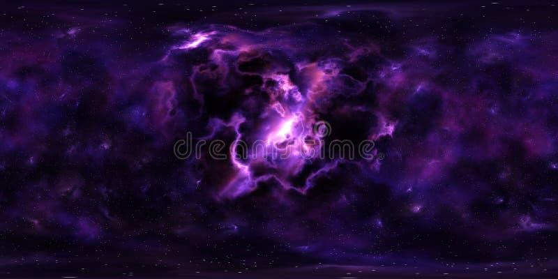 Deep space stars and nebula 360 degree panorama vector illustration