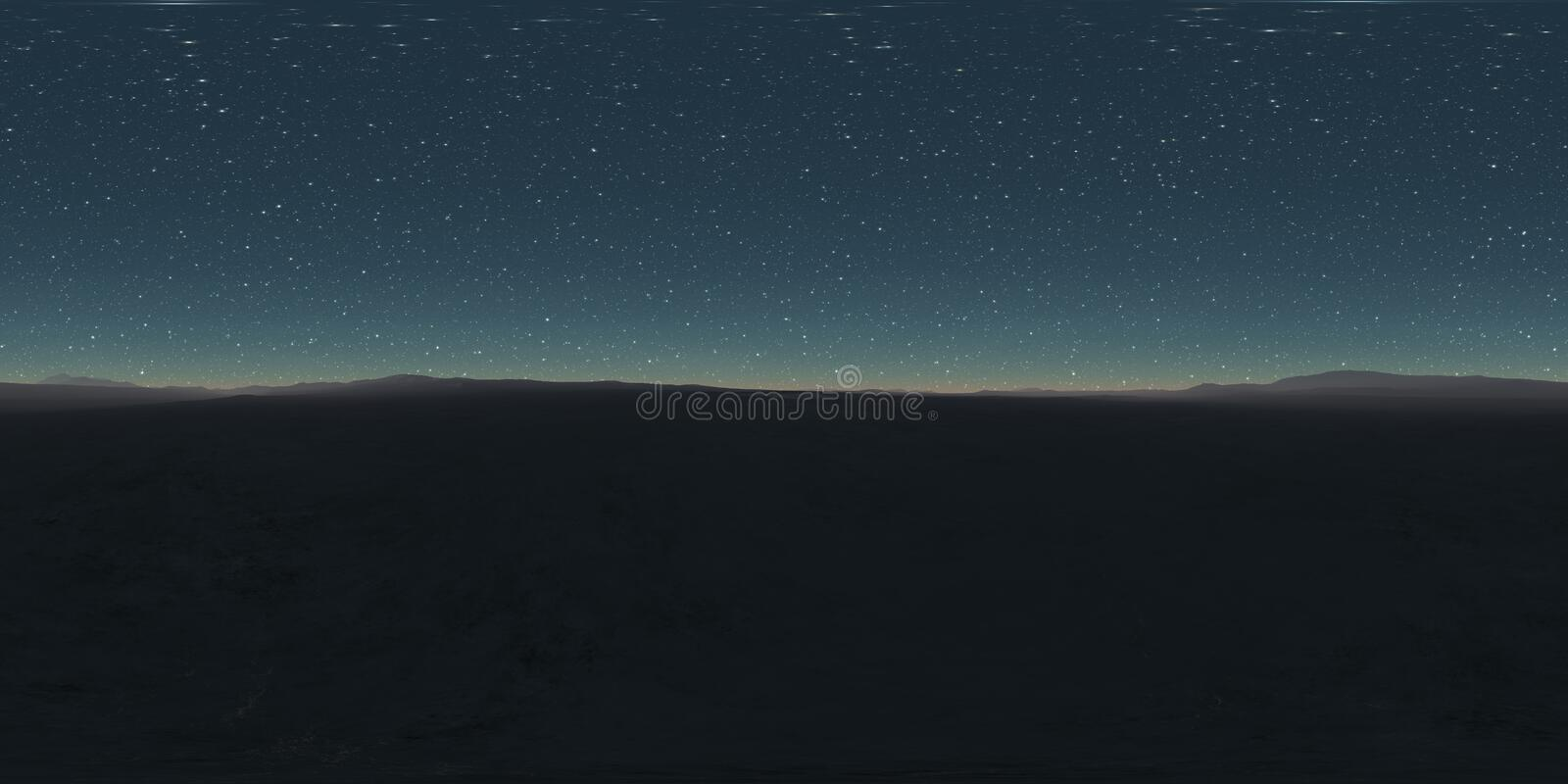 360 degree starry night sky texture, night desert landscape. Equirectangular projection, environment map, HDRI spherical panorama royalty free stock images