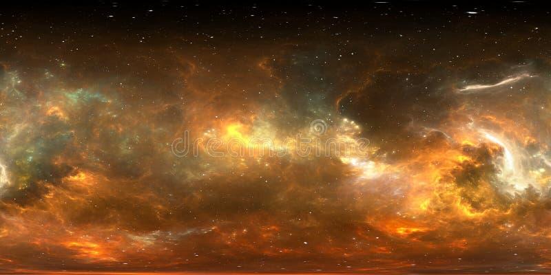 360 degree stellar system and gas nebula. Panorama, environment 360 HDRI map. Equirectangular projection, spherical panorama stock illustration