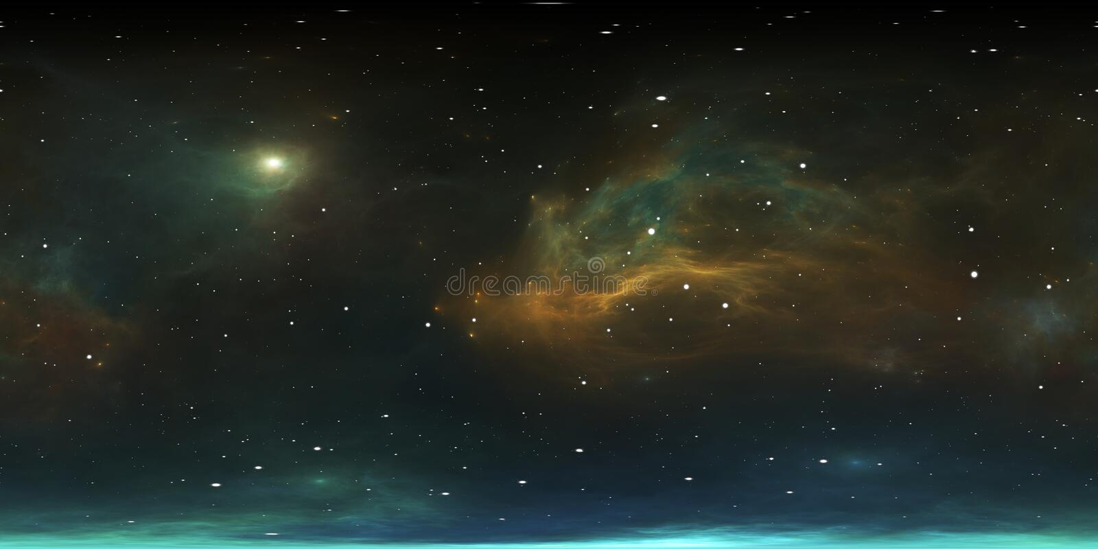 360 degree stellar system and gas nebula. Panorama, environment 360 HDRI map. Equirectangular projection, spherical panorama. 3d rendering vector illustration