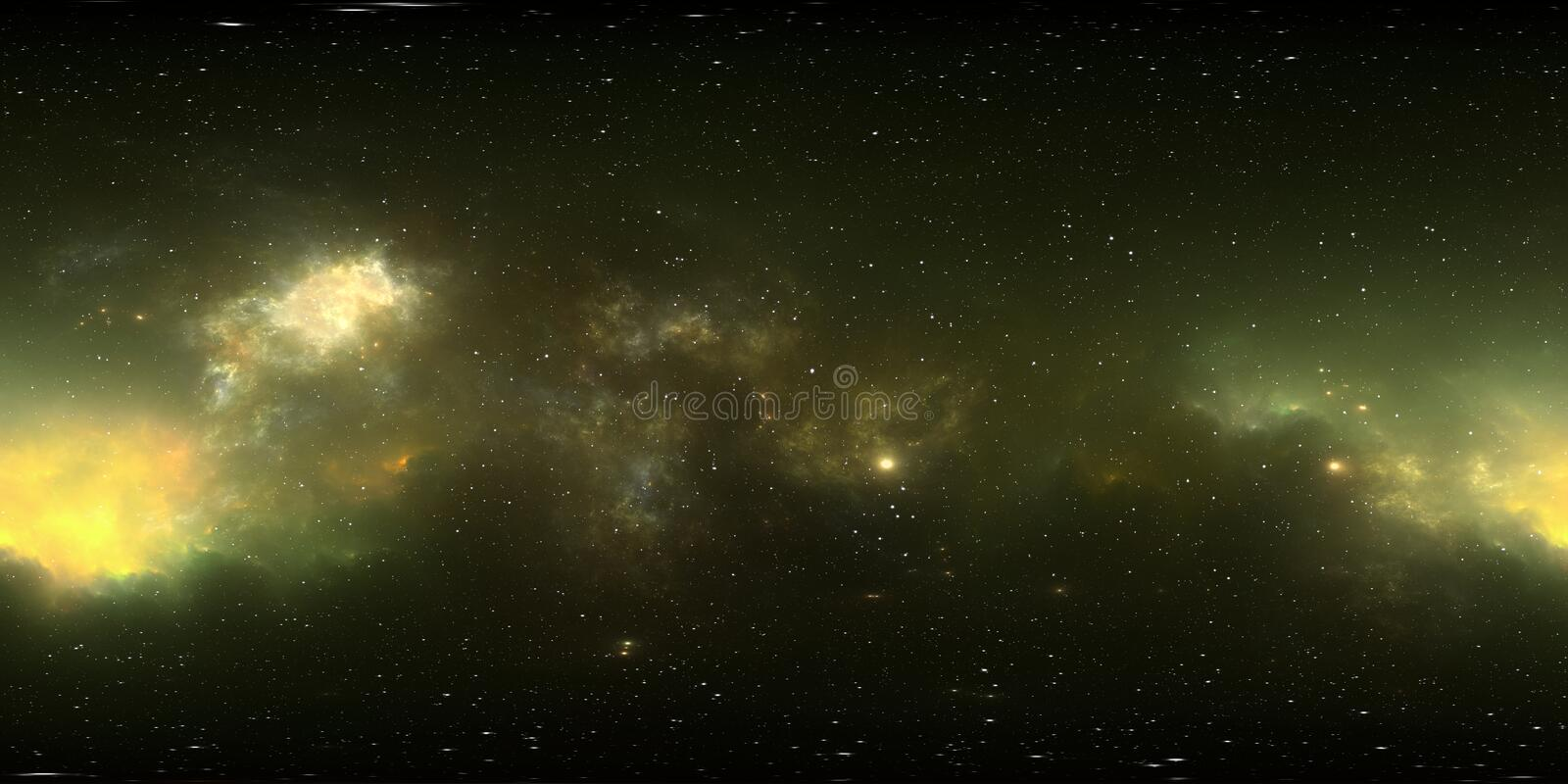 360 degree stellar system and gas nebula. Panorama, environment 360 HDRI map. Equirectangular projection, spherical panorama. 3d illustration vector illustration
