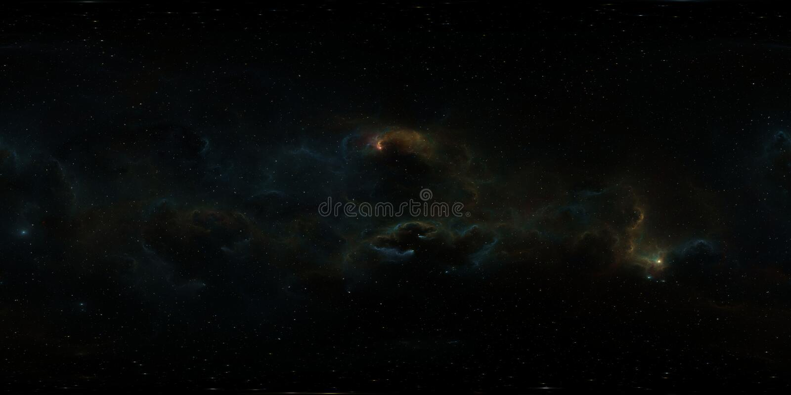 360 degree stellar system and gas nebula. Panorama, environment 360 HDRI map. Equirectangular projection, spherical panorama. 3d illustration stock illustration