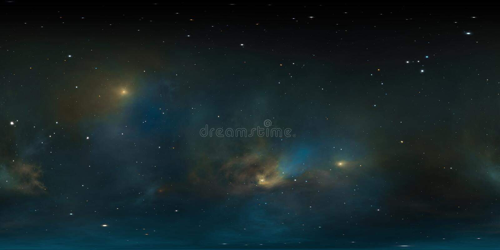 360 degree stellar system and gas nebula. Panorama, environment 360 HDRI map. Equirectangular projection, spherical panorama. 3d rendering stock illustration