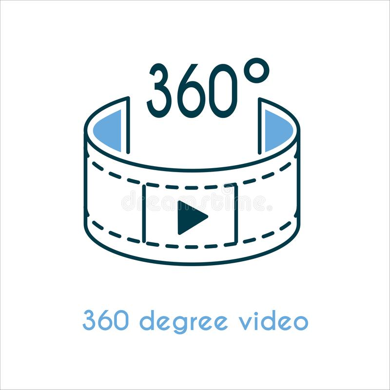 360 degree video flat icon. Vector illustration. Panoramic logo sign line style design. Film strip with play button. Can be used for photography vr technology vector illustration