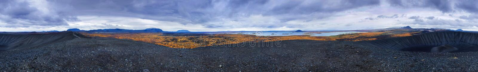 360 degree view from top of volcanic crater royalty free stock images