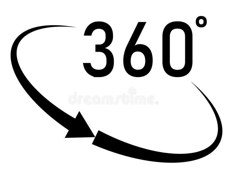 360 degrees angle icon in trendy flat style on white background. Angle 360 degrees icon symbol for your web site design, logo, app, UI. angle 360 degrees royalty free illustration