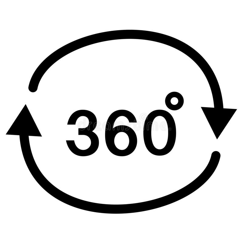 360 degrees angle icon in trendy flat style on white background. angle 360 degrees icon symbol for your web site design, logo, app. UI. angle 360 degrees stock illustration