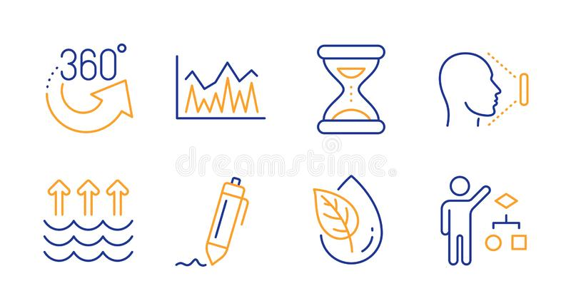 360 degrees, Evaporation and Organic product icons set. Signature, Investment and Time signs. Vector. 360 degrees, Evaporation and Organic product line icons set royalty free illustration