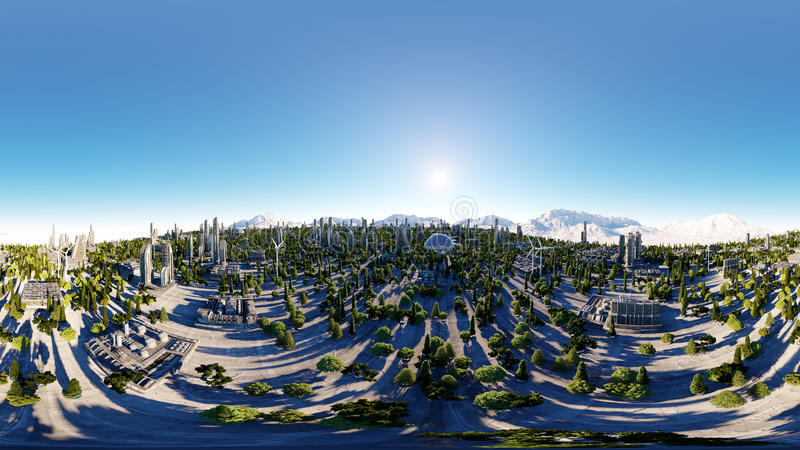 360 degrees. futuristic city, town. Architecture of the future. Aerial view. 3d rendering. spherical panorama stock illustration