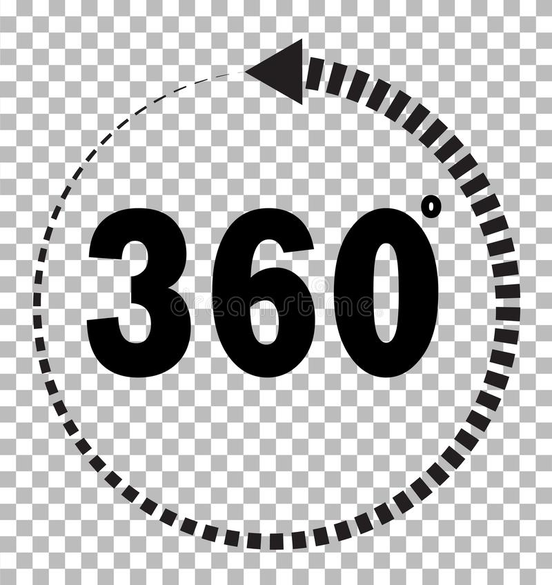 360 degrees icon on transparent background. flat style. 360 degrees sign. rotate 360 degress icon for your web site design, logo, royalty free illustration
