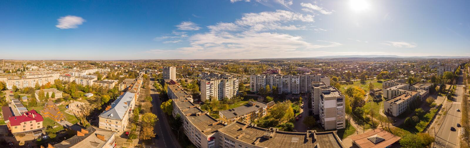180 degrees landscape of urban area. Aerial drone view cityscape. Older European town Drohobych, Ukraine royalty free stock photo
