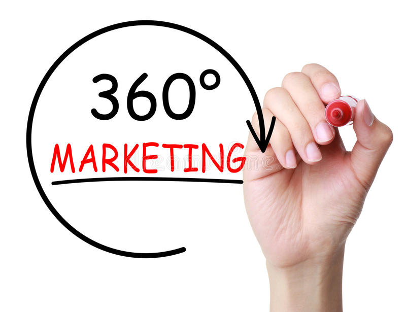 360 Degrees Marketing Concept. Hand with marker drawing 360 Degrees Marketing Concept on transparent board stock photo
