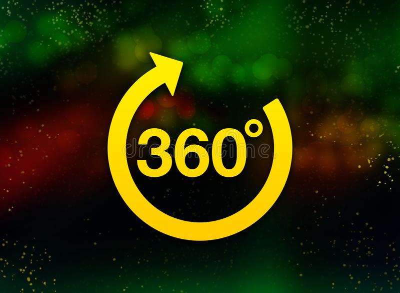 360 degrees rotate arrow icon abstract bokeh dark background. 360 degrees rotate arrow icon isolated on abstract bokeh dark background stock illustration
