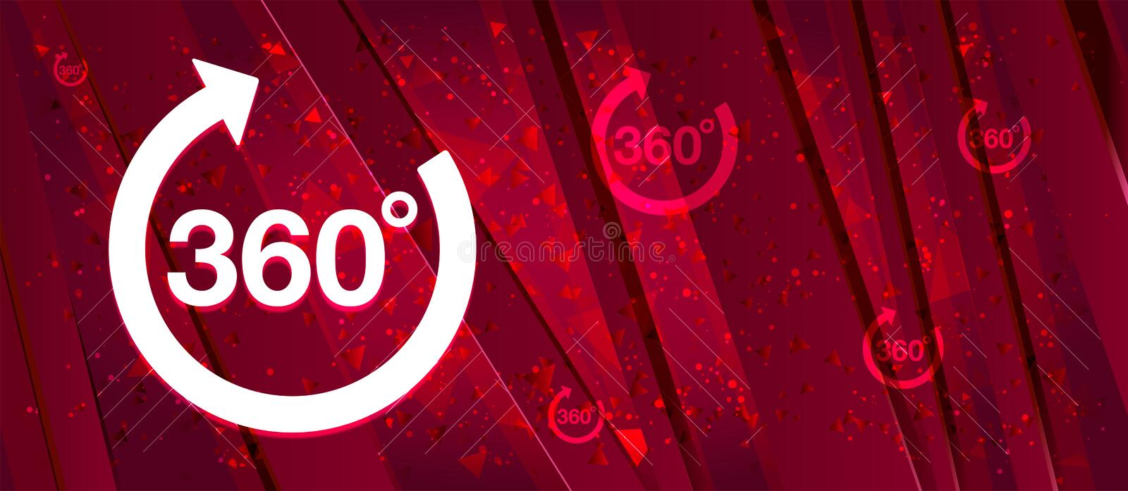 360 degrees rotate arrow icon Abstract design bright red banner background. 360 degrees rotate arrow icon isolated on Abstract design bright red banner stock illustration