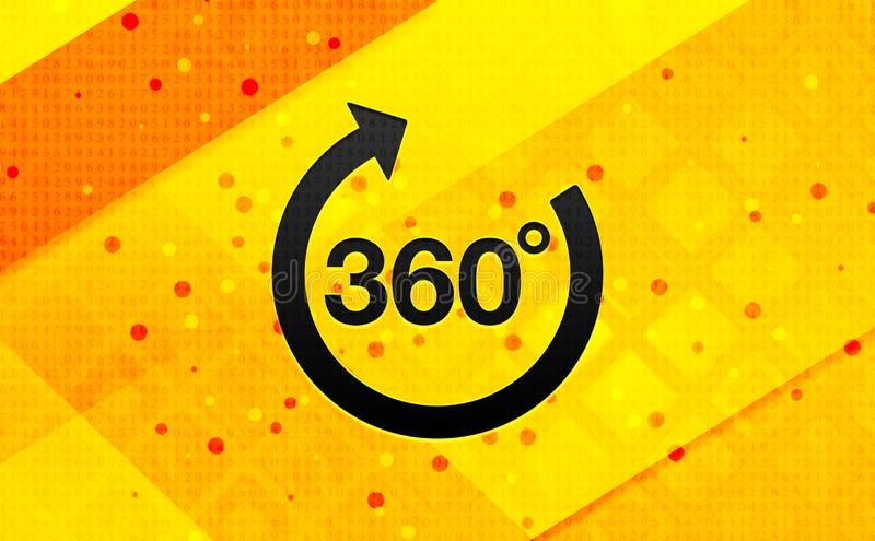 360 degrees rotate arrow icon abstract digital banner yellow background. 360 degrees rotate arrow icon isolated on abstract digital banner yellow background royalty free illustration