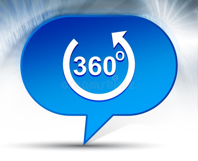 360 degrees rotate arrow icon blue bubble background. 360 degrees rotate arrow icon isolated on blue bubble background stock photo