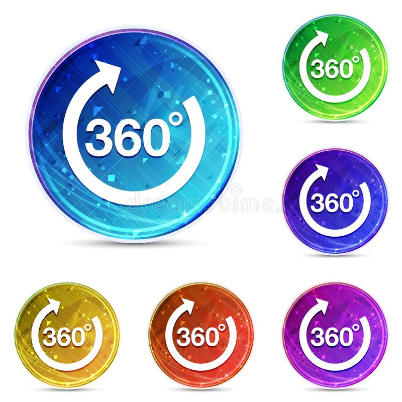 360 degrees rotate arrow icon digital abstract round buttons set illustration vector illustration