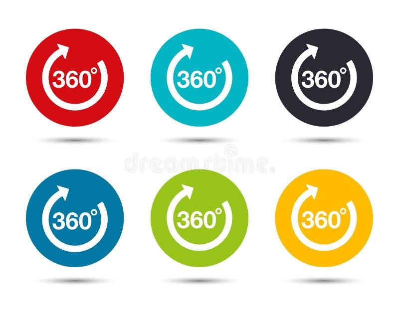 360 degrees rotate arrow icon flat round button set illustration design. Isolated on white background stock illustration