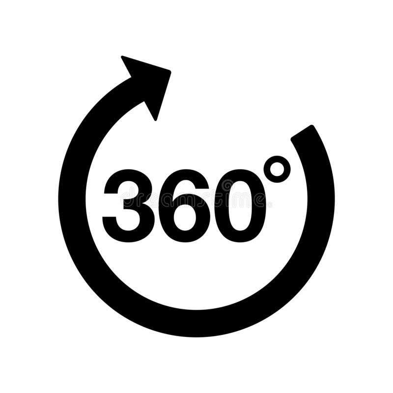 360 degrees rotate arrow icon flat vector illustration design. Isolated on white background royalty free illustration