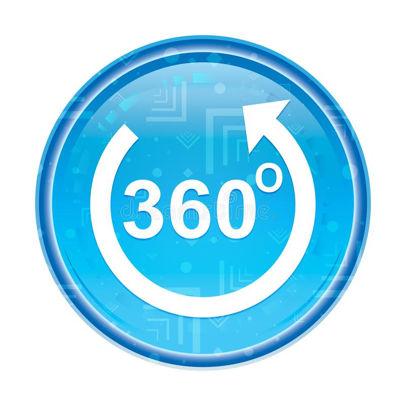 360 degrees rotate arrow icon floral blue round button stock illustration