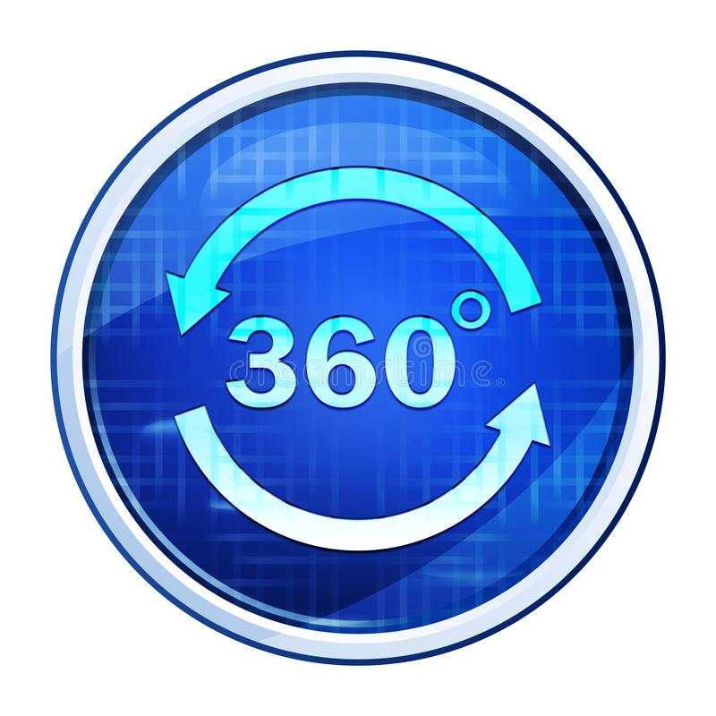 360 degrees rotate arrow icon futuristic blue round button vector illustration. 360 degrees rotate arrow icon isolated on futuristic blue round button vector stock illustration