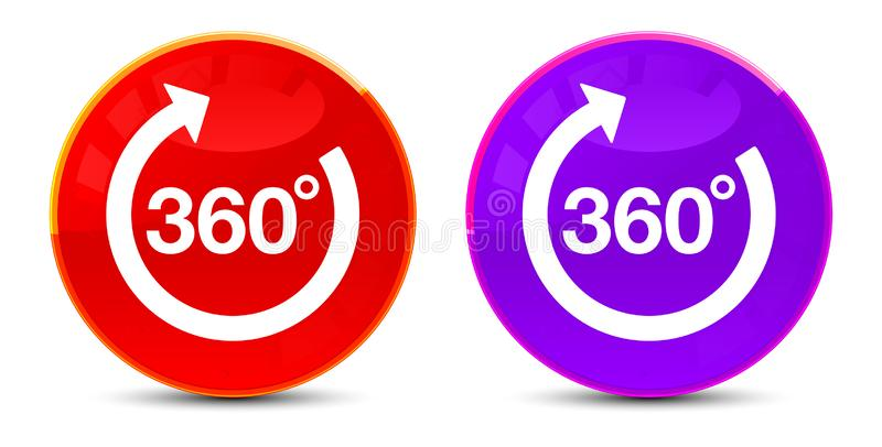 360 degrees rotate arrow icon glossy round buttons illustration. 360 degrees rotate arrow icon isolated on glossy round buttons illustration stock illustration