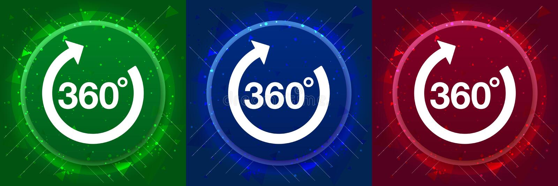 360 degrees rotate arrow icon elegant modern design abstract buttons set illustration. 360 degrees rotate arrow icon isolated on elegant modern design abstract stock illustration