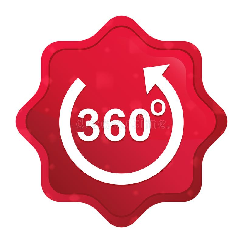 360 degrees rotate arrow icon misty rose red starburst sticker button vector illustration