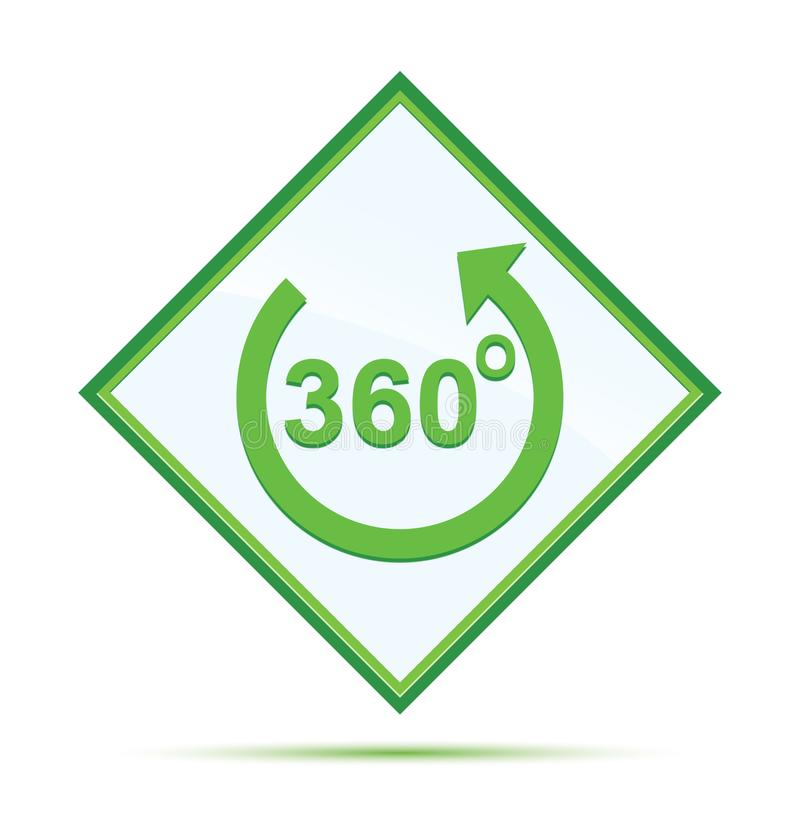 360 degrees rotate arrow icon modern abstract green diamond button royalty free illustration