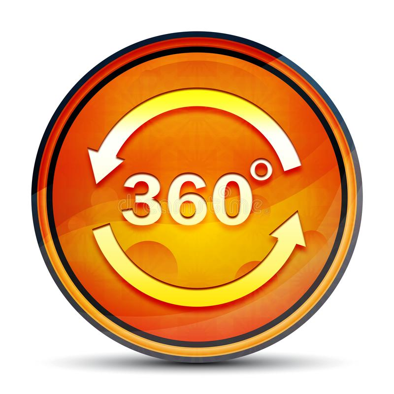 360 degrees rotate arrow icon shiny bright orange round button illustration. 360 degrees rotate arrow icon isolated on shiny bright orange round button stock photos