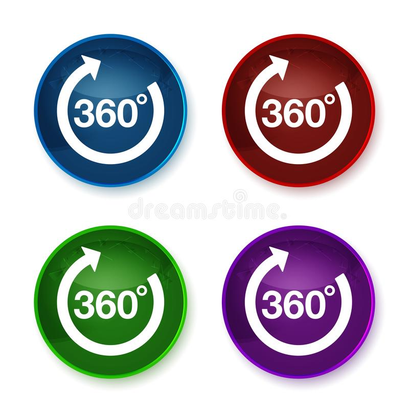 360 degrees rotate arrow icon shiny round buttons set illustration. 360 degrees rotate arrow icon isolated on shiny round buttons set illustration royalty free illustration