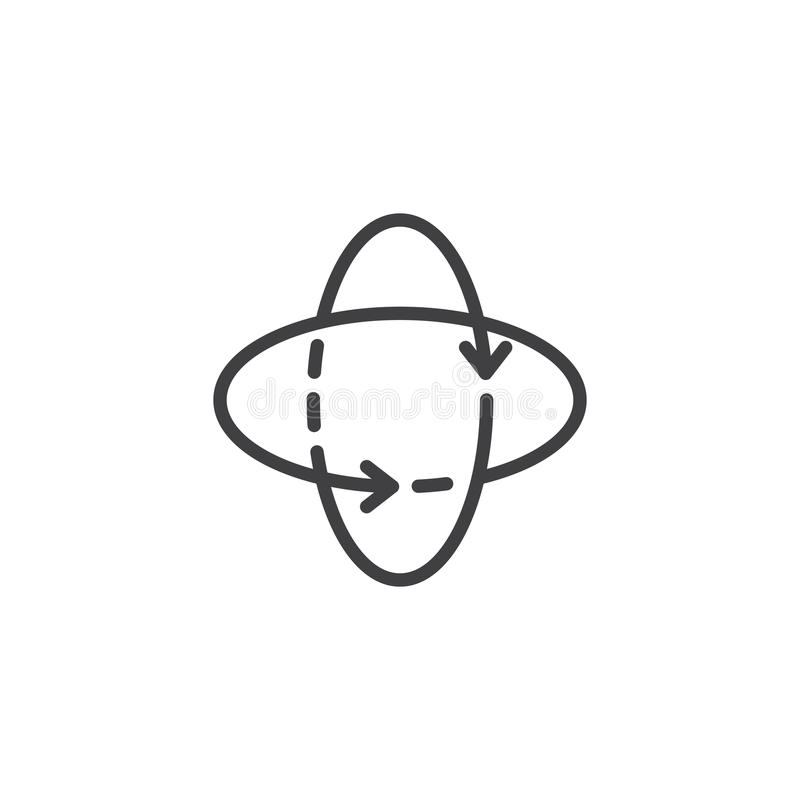 360 degrees rotate arrows outline icon stock illustration