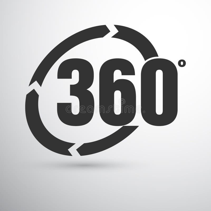 360 degrees sign. Dark grey 360 degrees sign on the light background stock illustration