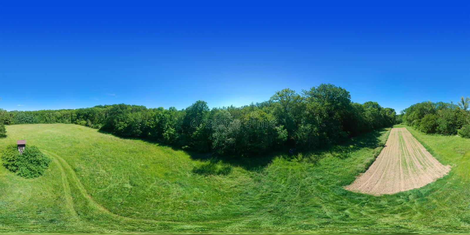 360 degrees spherical panorama rural meadow south Germany stock images