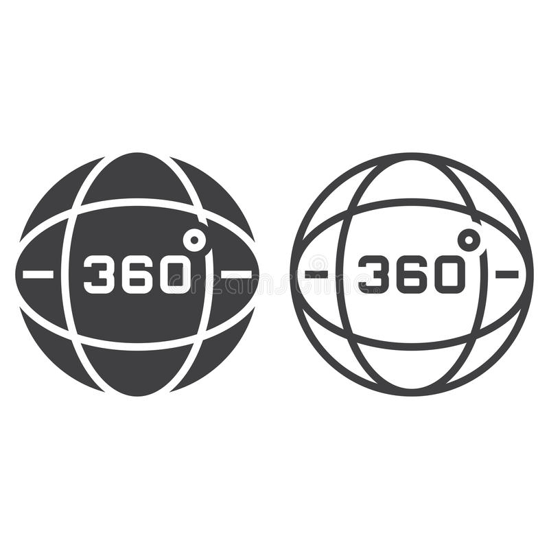 360 degrees view line icon, globe outline and solid vector sign, linear and full pictogram isolated on white, logo illustration vector illustration