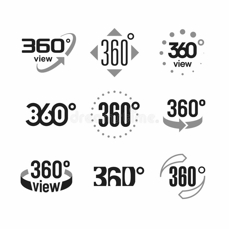 360 degrees view sign. Icons set illustration stock illustration