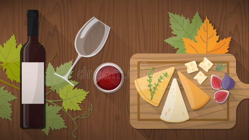 Degustação de vinhos com alimento ilustração royalty free