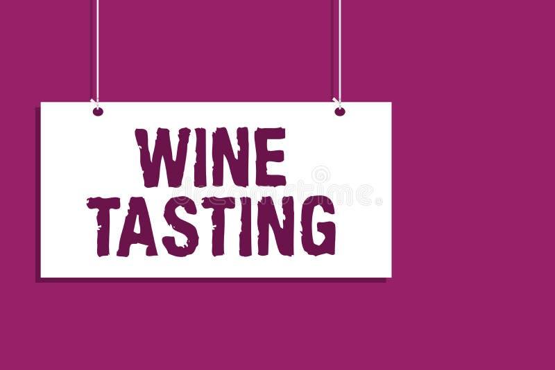 Degustação de vinhos da escrita do texto da escrita Conceito que significa a placa de suspensão bebendo de recolhimento social da ilustração stock
