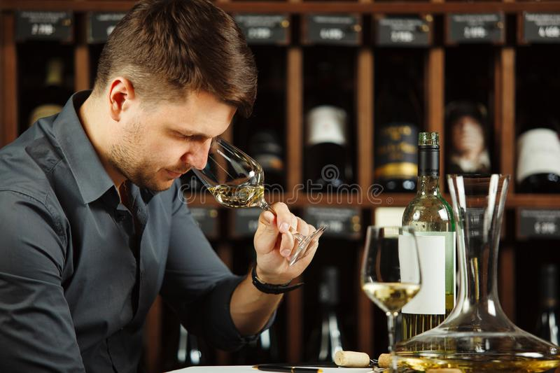 Degustation process of sommelier in wine cellar. Man holding glass with poured white alcoholic liquid sniffing fragrance of beverage to define quality, table royalty free stock image