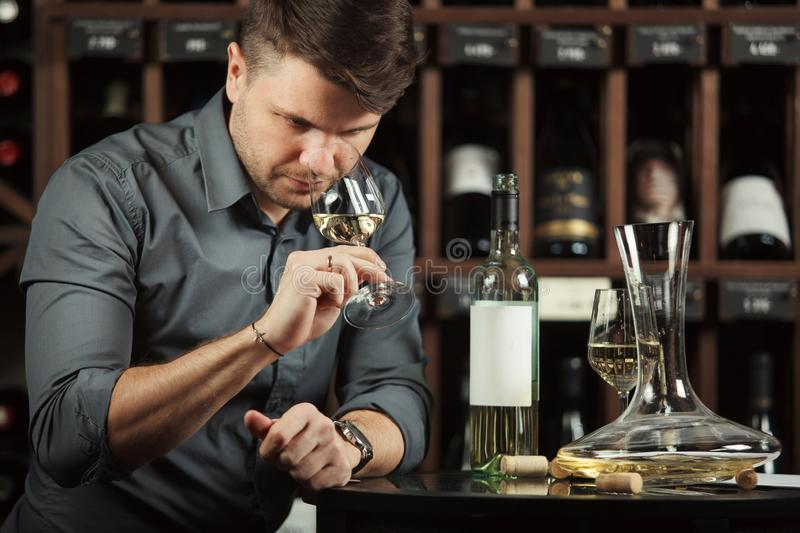 Degustation process of sommelier in wine cellar. Man holding glass with poured white alcoholic liquid sniffing fragrance of beverage to define quality, table stock photography