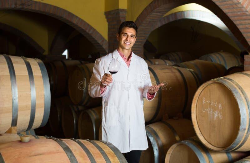 Degustator pozuje z winem wytwórnia win obrazy stock