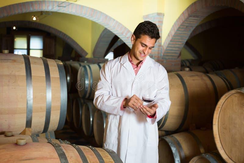 Degustator wytwórnia win z winem w lochu obrazy stock